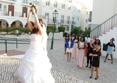 Bouquet Toss at Casa Do Largo Vilamoura Wedding Venue